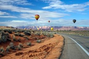 Some of the balloons along the road towards Kayenta looking towards Lake Powell