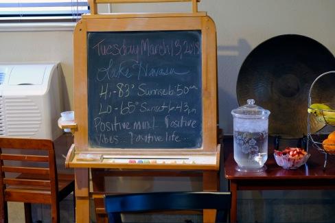 Morning thought and information at the hotel in Lake Havasu City, Arizona