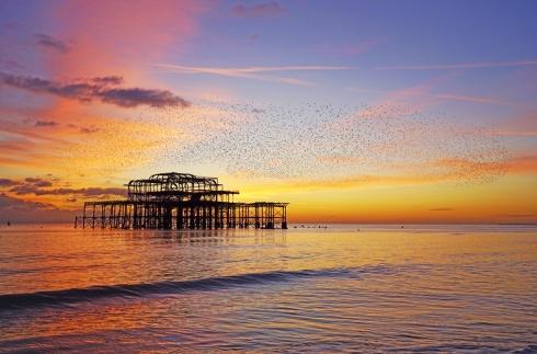 West Pier, Brighton at sunset