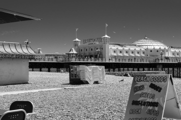 1800 Brighton Pier and Beach B&W