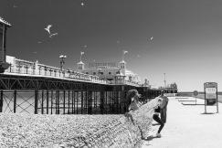 1800 Brighton Pier Girls Jump B&W