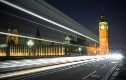 Westminster Bridge at night.