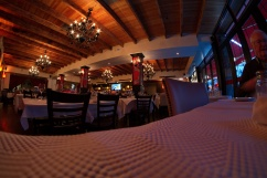 Inside the Italian Restaurant (Nice house red and original pasta dishes)