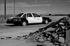 An abandoned squad car along the 373 in Amargosa Valley