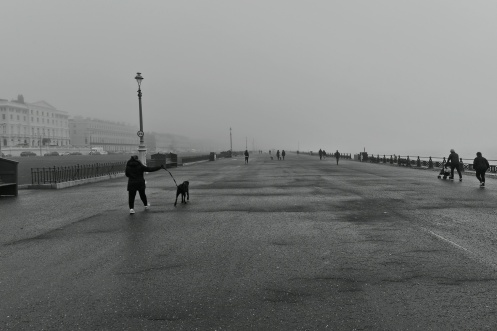 The promenade at Brighton and Hove on a foggy January morning