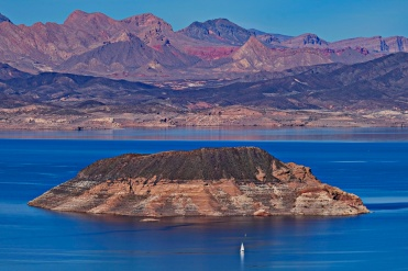 Yacht and Island at Lake Mead