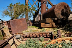Old mining equipment looking a bit worse for wear.