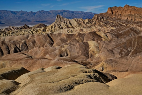 A sense of scale from Zabriskie Point, Death Valley, California. Can you find the three intrepid walkers, rather them than me at 82*F