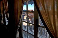 Through the first floor window of the saloon