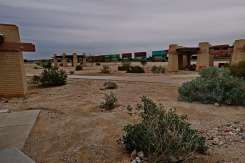 A rest area with a goods train passing by Yuma to Tucson