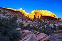 Sunrise on the canyon walls at Zion