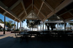 Lake Toho through the open restaurant.